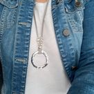 Ring necklace Leather Eyeglass Necklace Loop Silver Circle Necklace Big Circle Pendant Boho style Lanyard for sunglasses Women accessories