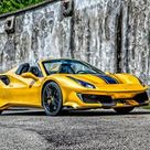Download wallpapers Ferrari 488 Pista Spider, 2020, exterior, yellow sports coupe, new yellow 488 Pista Spider, Italian sports cars, Ferrari besthqwallpapers.com