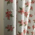 Vintage Pink Flowers Dots Pattern Washed Linen Cotton Curtain Light Pale Mint Gray 64 71 84 90 96 108 120 in Length by 53 W Window Treatment