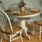 Barnsdale Round Pedestal Two Tone Dining Table - White/Burnished Oak