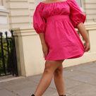 Puff-sleeved Pink Poplin Dress