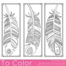 Printable Feathers Coloring Page Bookmarks for Adults PDF /   Etsy