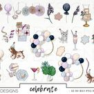 Birthday Celebration Fashion Girl Clip Art Watercolor Clipart PNG Party Balloons Glitter Hand Drawn