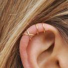 Modern Minimalist Set of 2 Ear Cuffs or Single Ear Cuff, Double & Criss Cross,No Piercing,Cartilage Ear Cuff,Gold Ear Cuff, Silver Ear Cuff