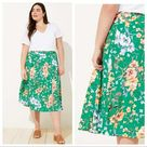 LOFT green floral fluid midi skirt size 4
