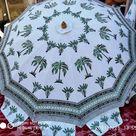 Garden Umbrella Floral Patio Parasol Block Printed Large Umbrella,Beach Cafe Outdoor Umbrella,White Sun Shade Patio Mughal Umbrella