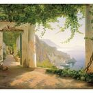 Art Print: View to the Amalfi Coast by Carl Frederic Aagaard : 24x18in