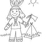 Kostenlose Malvorlage Cowboys & Indianer: Indianer und sein Zelt zum Ausmalen