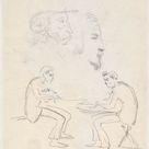 Johan Daniël Koelman, 1841   Study of two seated women and two men head   fine art print   Poster print canvas paper / 30x40cm   12x16