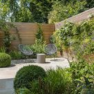 City design garden low maintenance with artificial lawn, stacked stone