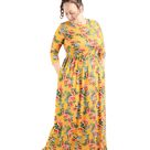 Cleo Maxi Dress (Mustard Floral) - Mustard Floral / M
