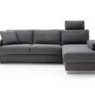 Contur einrichten: Ecksofa Nuoro - 2-Sitzer mit Longchair rechts inkl. Schlaffunktion und Bettkasten, Stoff, Grau
