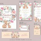 SELF-edited DIY Easter BUNDLE Template, Watercolor Flower Wreath Birthday Invitation, Place Card