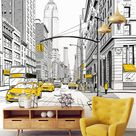 NYC yellow taxis mural wallpaper - drawing New York City  wall mural - illustration NYC landscape