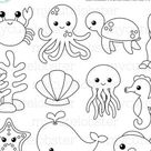 Monsters Digital Stamps - cute outlines, lineart, stamps, monster line art - personal use, small commercial use, instant download