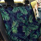 Dark Tropical Palm Leaf Pattern Print Pet Car Back Seat Cover