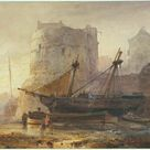Wijnand Nuijen, 1836   Ships at low tide in a French port   fine art print   Poster print canvas paper / 60x50cm   24x20