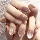Xerling Glossy Nude Fake Nails for Women Girls Party Daily Finger Wear 24Pcs False Nails Full Cover Acrylic Press on Nails