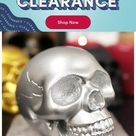 The Holiday Aisle® Etheline Pirate's Loot Graveyard Human Skull Figurine, Resin in Silver, Size Mini - Less than 6
