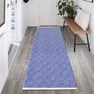 Lokhom Extra Long Cotton Area Rug Runner Reversible Hand Woven Cotton Throw Rug Floor Mat - Dark Blue / 4'x6'