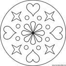 Mandala Malvorlage mit Herzen und Sternen für Kinder