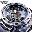 Winner Black Golden Retro Luminous Hands Fashion Diamond Display Mens Mechanical Skeleton Wrist Watches Top Brand Luxury Clock - Black Silver