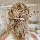 Bridal floral hair piece  Bridal silver hair pin  Wedding hair accessories  Wedding hair piece  Prom hair piece  Bridesmaids hair piece