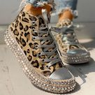 2021 Sexy Leopard High Top Sneakers Women Fashion Bordered Rivet Flats Canvas Shoes - leopard high top / 12