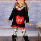 Girls Covered In Love Heart Tunic, Patterned Leggings, and Matching Scarf Set - Black / 12MON
