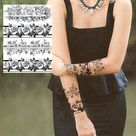 Sexy Flower Temporary Tattoos For Women Body Art Painting Arm Legs Tattoos Sticker Realistic Fake Black Rose Waterproof Tattoos - CLZ166