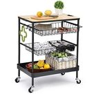 TOOLF Kitchen Island Serving Cart with Utility Wood Tabletop, 4 Tier Rolling Storage Cart with 2 Basket Drawers, Universal Lockable Casters for Home, Dining Room, Office, Restaurant, Hotel   Black