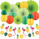 Summer Party Decoration Pack of 11, Tissue Pineapples, Paper Pom Poms Flowers, Flamingo Pineapple Ba