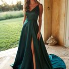 A&N Luxe Lucia Satin Gown   Teal