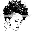 Afro Woman Mohawk Hairstyle Nubian Queen Natural Hair African Female Lady SVG JPG PNG Vector Clipart Cricut Silhouette Cricut Cut Cutting