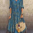 Zolucky Sundress Casual Dresses Shift V Neck Casual 3/4 Sleeve Dresses