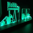 Personalized Oil Pump Rig LED light desk name plate and business card holder.  Maple, Walnut, Cherry, Acrylic.