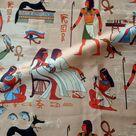 Egypt fabric -  Ancient Egypt horus Egypt traditional pattern fabric - egyptian pharaoh, egyptian upholstery,egyptian curtain,papyrus fabric