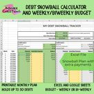 Debt Snowball Tracker and Weekly Budget Planner Spreadsheet   Etsy
