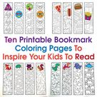 Ten Printable Bookmark Coloring Pages To Inspire Your Kids To Read