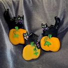 Black Cats witches, Halloween Pins. Ceramic Brooch. Assorted Black cat Lapel or collar pins. Safety clasp pinback. Your choice of one.