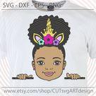 Peek a boo svg, Cute prinscess afro puff girl with Unicorn Horn Crown svg, Peekaboo African American kids Svg cut files Dxf png Eps digital