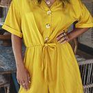 Button Front Tie Waist Romper - Yellow / XL