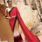 Indian Dusty Pink Beige Satin Jacquard AND Georgette Lovely Casual Saree