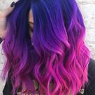 super fashion hair color in purple and deep pink