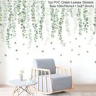 Luanqi Green Leaves Wall Stickers for Home Living Room Vinyl Wall Decal Tropical Plants Wall Sticker Door Murals Wallpaper Decor - 101-04