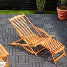 Sonnenliege Akazienholz inkl. Kopfkissen