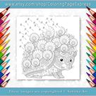 Coloring page for adults. Digital coloring page. Hedgehog. | Etsy