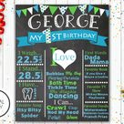 First Birthday Chalkboard Sign| Chalkboard Birthday Sign| Poster| First Birthday Poster | 16x20| Digital File Only| Green and Blue| Boys