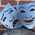 Vintage Metal Drama Face Masks - Retro Home Theater Decor - Vintage Cinema Wall Art - Art Deco Decor - 25 x 19.5 / Raw Steel