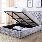 Yasmine Silver Crushed Velvet Ottoman Bed   beds.net